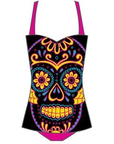 Rockabilly Sugar Skull Pinup Bathing Suit Too Fast Swimsuit Day of Dead Retro
