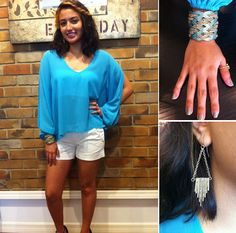 @Melissa Henson Me Shorts with Sly Blue Open-Sleeve Top with a @womenteestina Bandeau ~ Apricot Lane South Florida