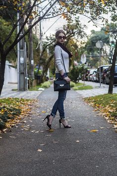 Look do dia: Calça jeans destroyed e tricô | Fall / Winter outfit #ootd