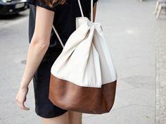 Tutorial fai da te: Come fare una sacca zaino in ecopelle e stoffa via DaWanda.com