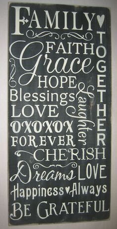 Family, Faith, Love, Decor, Primitive, Typography, Word Art, Wall Art, Sign. $65.00, via Etsy.