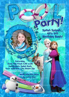 Disney's Frozen Invitation, Elsa Birthday, Frozen Pool Party Invite