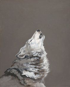 Howling at the moon, giclee art print of original acrylic painting, wolf portrait. $20.00, via Etsy.
