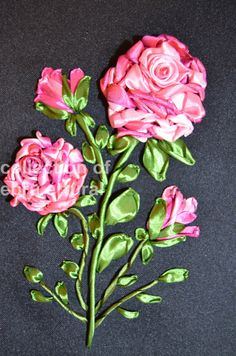 Ribbon Embroidery Bouquet Floral embroidery Flower by RainbowJus