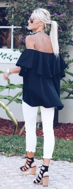 #spring #outfits  Black Ruffle Off The Shoulder Top + White Skinny Jeans + Black Sandals
