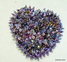 Passionate Purple Heart Bead Embroidery  Brooch SALE by 4uidzne, $75.00