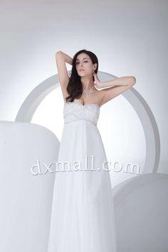 Empire Wedding Dresses Sweetheart Floor Length Organza Satin White #plussizeweddingdresses #maternitystyle