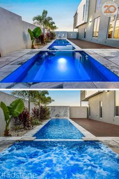 Narellan Pools Sunshine Coast have built a stunning lap pool and spa making the best use of a long blobk that was tight on space. Our Yukon coping beautifully borders the pool and adds a touch of luxury #3dstone #poolcoping #naturalstone #greytiles #poolpavers #stonecoping #lappool #spa