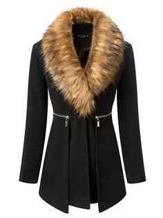 Stylish Fur Collar Full Sleeve Zipper Decorated Covered Button Nipped Waist Women Nylon Trench Coat  US$52.99(55% OFF)