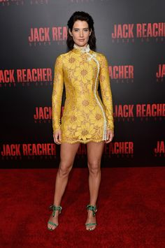 Splurge: Cobie Smulders's Jack Reacher: Never Go Back New Orleans Fan Screening $1,857 Alessandra Rich Yellow Flower Lace Mini Dress - Fashion Bomb Daily Style Magazine: Celebrity Fashion, Fashion News, What To Wear, Runway Show Reviews
