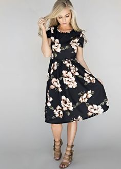 Blooming Black Midi Dress, womens fashion, style, fashion, maxi, maxi dress, dress, spring, summer, jessakae, blonde, hair, floral dress