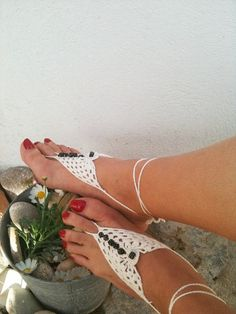 White Barefoot Sandals with dice bead Nude shoes by ArtofAccessory, $15.00