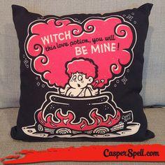 Cute Spooky Witchy Stupid Cupid Valentines Day Throw Pillow Love Potion Spells Magick Dark Arts Casper Spell (www.CasperSpell.com)