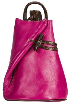 LiaTalia Convertible Strap Italian Leather Backpack Shoulder Bag with Protective Storage Bag - Brady (Small - Pink BrownT)