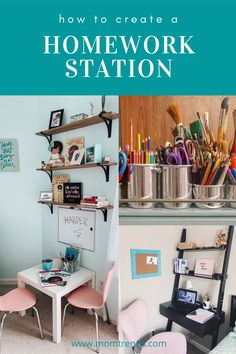 Tips for creating a homework station and desk for online learning. Kids Bedroom Paint, Bedroom For Girls Kids, Cool Kids Rooms, Kids Bedroom Designs, Kids Bedroom Furniture, Bedroom Decor, Bedroom Ideas, Home Learning, Learning Spaces