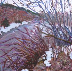 """""""Pecos River, November 2013"""" Acrylic on canvas, 16 x 16"""" $500 (Just finished, Dec 2013) #PollyJackson is an #artist from #Albuquerque, New Mexico, USA, whose paintings I admire. Would you love to own one of her paintings that I have pinned? Contact her at: Email: mailto:artistpoll... Website: www.pollyjackson.com  https://www.facebook.com/artistpolly #NewMexico #PecosRiver #Acrylic #Painting"""