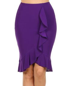 Look what I found on #zulily! Purple Ruffle Pencil Skirt by One Fashion #zulilyfinds