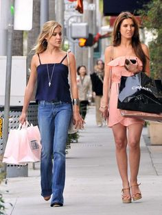Reality stars Audrina Patridge and Kristin Cavallari hunt for new shoes together as they film The Hills in Beverly Hills, Ca on April 15, 2010.    Photo copyright by Fame Pictures.