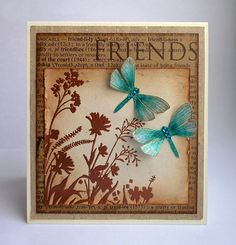 handmade card: Friends by ..::aga::..  one of my favorite color combos: kraft and brown with a turquoise highlight ... luv the total look of this card ...