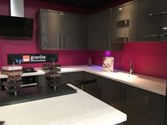 Hot pink back painted glass kitchen splash back. Pink Kitchen Appliances, Kitchen Cabinets, Pink Kitchens, Back Painted Glass, Glass Kitchen, Interior Design Tips, Commercial Interiors, Glass Design, New Homes