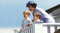 Photo by unknown in 1987 of Queen Elizabeth II with her grandsons, Prince William &  Prince Harry (sons of Prince Charles & Princess Diana) in the royal box at Guards polo club, Smiths Lawn, Windsor, Berkshire, UK.