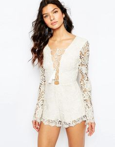 The Jetset Diaries Pisa Lace Romper in Ivory