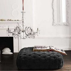 Velvet ottoman in charcoal from Brocade. The idea of an ottoman in a dressing room is my favorite. Living Tv, My Living Room, Living Spaces, Living Area, Style Boudoir, Modern Ottoman, Black Ottoman, Large Ottoman, Square Ottoman