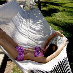 Thick Cotton String Hammock No. Double Hammock, Hammock Swing, Mayan Hammock, Log Furniture, Ways To Relax, Beach Mat, Cord, Hand Weaving, Outdoor Blanket