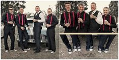 Rockabilly Wedding without the beers of course but I like the red suspenders on the guys 50s Wedding, Rockabilly Wedding, Rockabilly Fashion, Farm Wedding, Wedding Attire, Wedding Bridesmaids, Dream Wedding, Rockabilly Style, Wedding Stuff