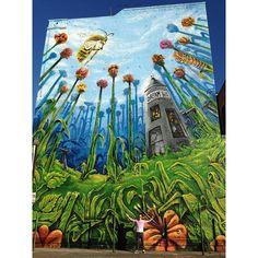 Here it is if you didn't get a good look. Dream BIG! @oxygen #streetartthrowdown @1amsf @mtncolors @thewalkingiant #mtn #graffiti #streetart #LA #SF #bayarea #bayareagraffiti #415 #bees #flowers #bugs #plants #paint #art #love #life #community. #TV  #crazy #garden #plants #sky #building #dream #big #clouds    camer1sf, artist