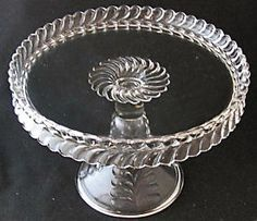 "Adams Glass Co. PLUME cake stand, 10"" d circa 1890 EAPG"