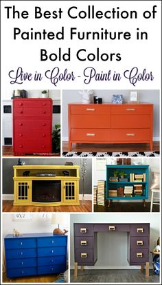Tired of white and neutral painted furniture? Check out these bold and beautiful painted furniture makeovers all finished in bold colors
