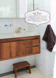 HB October 2011 I really love these timber wall hung vanities! They bring warmth to a cool bathroom