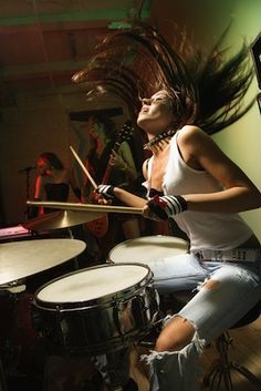 (Open w/ Kristina) I sat at my drum set. I played a recording of Monster by Skillet without drums. I started to play.