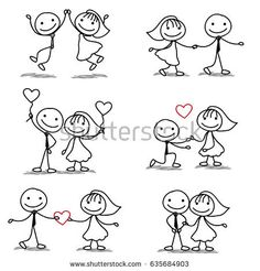 six cute and fun stick figure wedding collection - buy this vector on Shutterstock & find other images. Ultimate Wedding Gifts, Wedding Gifts For Couples, Cute Couples, Love Drawings, Doodle Drawings, Doodle Art, Pebble Painting, Pottery Painting, Love Stick