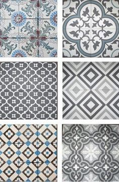 gray and blue tile designs