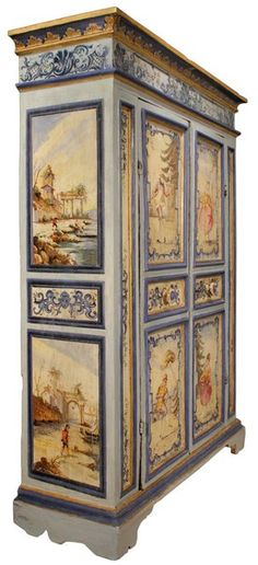 An century Venetian two door painted armoire For Sale at Painted Doors, Decorative Painting, Paint Furniture, Painted Bedroom Furniture, Painted Furniture, Vintage Furniture, Painted Armoire, Fantastic Furniture, Beautiful Furniture