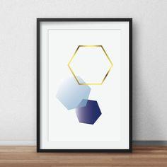 Blue Hexagon Wall Print Navy Geometric Art by AnnyDigitalDesign