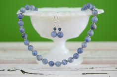Denim Blue Beaded Necklace with Dangle Earrings Italian Onyx Jewelry Set Simple Elegant Single Strand Style Gift for Mom's Birthday by kikiverde from Kikiverde Design Studio Find it now at http://ift.tt/1TSr7q9! #EtsyGifts #Handmade #Etsy