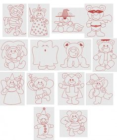 Halloween Redwork Teddy Bears Designs by JuJu Machine Embroidery Designs