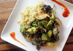 Spicy Sriracha Brussels & Avocado with Lime-Scented Quinoa: Spicy morsels of goodness!