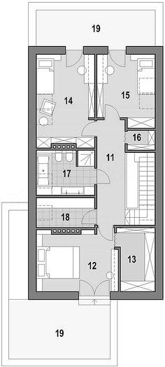 Projekt domu Fiodor G2 133,7 m2 - koszt budowy - EXTRADOM Modern House Plans, Layouts, Kitchen Design, Villa, Floor Plans, House Design, How To Plan, Home Decor, Home