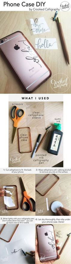 Easy and free DIY to add custom calligraphy under any clear phone case. www.crookedcalligraphy.com/blog