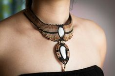 Macrame necklace with botswana agate