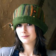 Green felted hat handmade by jannio with lines and dots by jannio