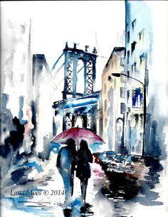 Love Romance Travel Under One Umbrella NYC Art Print by Lana Moes #Art #watercolor #illustration