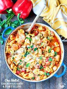 This One Skillet Chicken Sausage and Tortellini is an easy dinner that's ready in less than 30 minutes! It's a simple meal that the whole family will love!