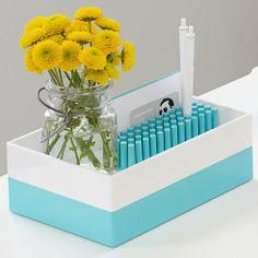 White + Aqua accessory trays make the perfect home for Aqua Grip Grass! #aqua #workhappy