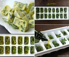 ***A Cool Kitchen Tip*** A great way to preserve out of season herbs - just freeze them in Drizzle extra virgin olive oil. Yuuummmy!  #kitchentips #extravirginoliveoil #drizzle #preserve #funwithfood #herbs #delicious