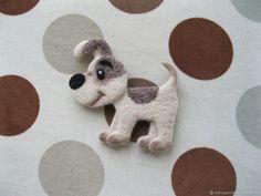 Купить Брошь собака Рекс (валяная) - брошка, брошка из шерсти, валяная брошь, брошка собака